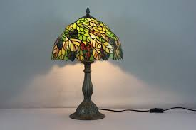 Tiffany Table Lamp Shades Vintage Metal Base Stained Glass Leaf Tiffany Shade Table Lamp