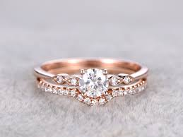 2pcs moissanite wedding ring set diamond matching band rose gold
