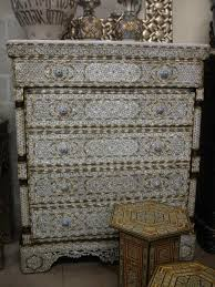 syrian mother of pearl five drawers cabinet