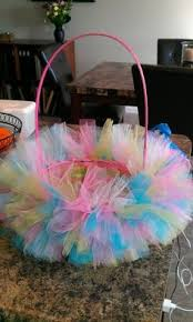Easter Baskets Decorated With Tulle diy easter basket with tulle and flowers kids pinterest