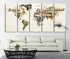 World Map Poster Large World Map With Grunge Posters Large Canvas Art Print World Map