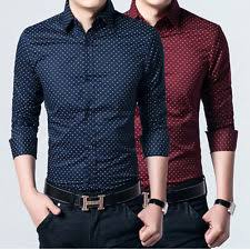 polka dot cotton blend button front casual shirts for men ebay
