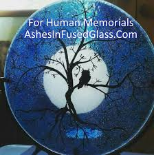 cremation tree owl moon tree of 10in cremation ashes infused glass