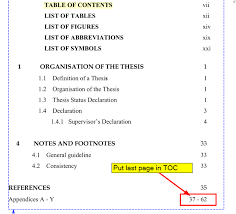 what does table of contents mean cross referencing how to create from page xx to last page in