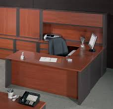 Brown Lacquered Oak Wood Office Desk Which Furnished With Gray Base
