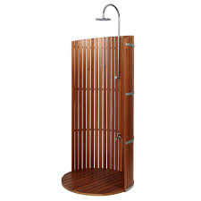 freestanding lauan privacy shower panel with round lauan tray