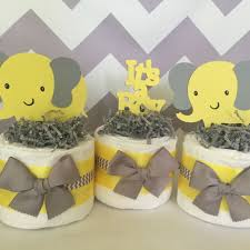 Elephant Decorations Set Of 3 Elephant Mini Diaper Cakes In Yellow And Gray Elephant