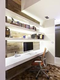 Home Shelving Contrast Your White Built In Desk With Dark Wooden Floors While