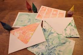 paper marbling with food dye and shaving cream 5 steps with