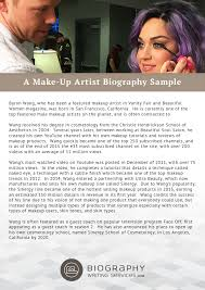 Resume Biography Sample by Make Up Artist Biography Writing Biography Writing Services