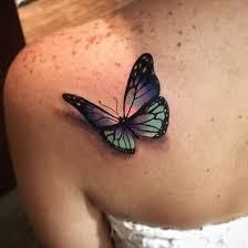 3d butterfly on shoulder by alex bruz