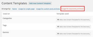 using content templates for archive and taxonomy pages