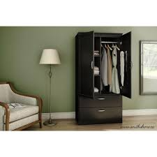 Black Storage Armoire South Shore Acapella Pure Black Armoire 5370038 The Home Depot