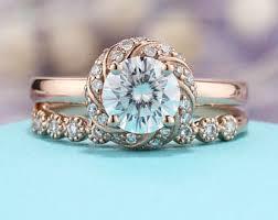 moissanite wedding sets moissanite engagement ring etsy