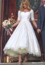 discount vintage lace applique tea length country style wedding