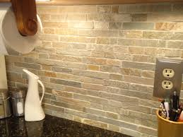 unique natural stone subway tile backsplash home design image