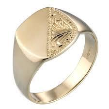 signet ring men men s 9ct gold cushion signet ring h samuel