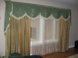 two tone striped pattern curtain combined with curve green valance