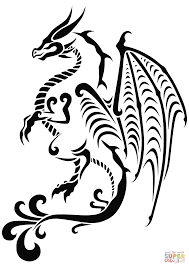 dragon tattoo coloring page free printable coloring pages