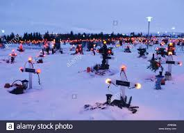 cemetery in hafnarfjordur in iceland during christmas by tradition