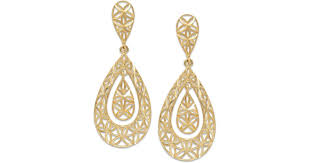 gold teardrop earrings lyst macy s diamond cut teardrop earrings in 10k gold in metallic