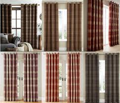 Wool Curtains Luxury Check Highland Ring Top Eyelet Lined Curtains Brushed Faux