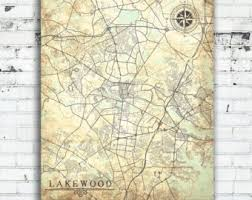 map of lakewood new jersey nj map etsy