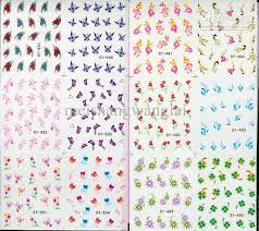 mix nail art sticker decal 6in1 nail patch water slide temporary