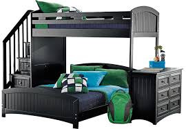 Black Bunk Beds Cottage Colors Black Step Loft With Dresser Bunk Loft