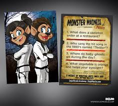 monster madness halloween trivia cards muscle