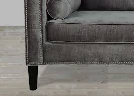 Charcoal Tufted Sofa by Grey Velvet Sofa With Nailheads