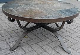round stone top coffee table round stone coffee table iron with amazing regard to 11