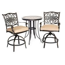Round Outdoor Bistro Chair Cushions by Hanover Monaco 3 Piece Round Patio Bistro Set With Natural Oat