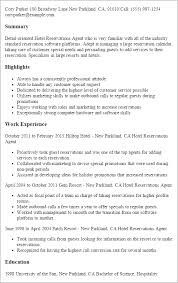 Hotel Resume Professional Hotel Reservations Agent Templates To Showcase Your