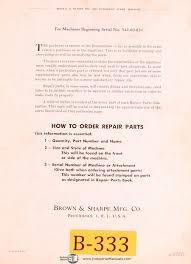 brown u0026 sharpe no 00g automatic machine repair parts list