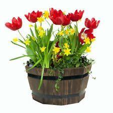 wooden round garden barrel tub planters boxes ebay