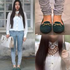 white shirt white necklace images Fan wan dune green loafers with gold chain oasis golden jpg