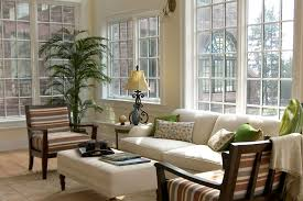 bewitching view in sun room desaign ideas with big white sofa near