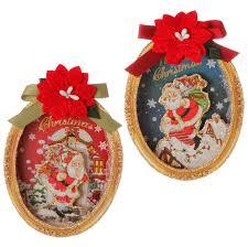 raz 6 santa merry shadow box ornaments raz
