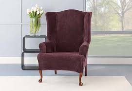 sure fit stretch plush wing chair slipcovers