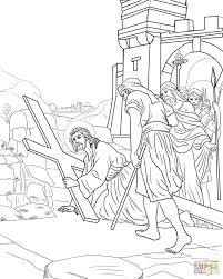 jesus carries his cross coloring pages