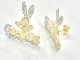 name plated earrings personalized 14k gold plate any name any character single