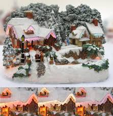 Fiber Optic Home Decor Amazon Com Christmas Snow Village Santa And Reindeer Led Fiber