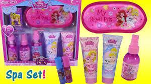 disney princess palace pets spa set 7 pieces glitter spray