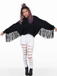 black fringe sweater sweater fringe sweater black fringe top wheretoget