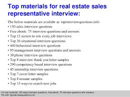 real estate sales representative interview questions and answers