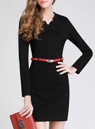 straight dress long sleeves v cut collar narrow red belt