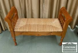 Pine Furniture Stores Pine Rush Seat Bench With Scroll Arms Baltimore Maryland