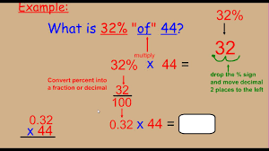 percent to decimal percent of a number multiply by decimal