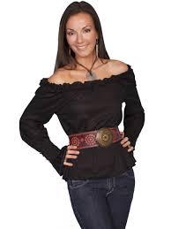 the shoulder black blouse scully womens black the shoulder ls peasant blouse